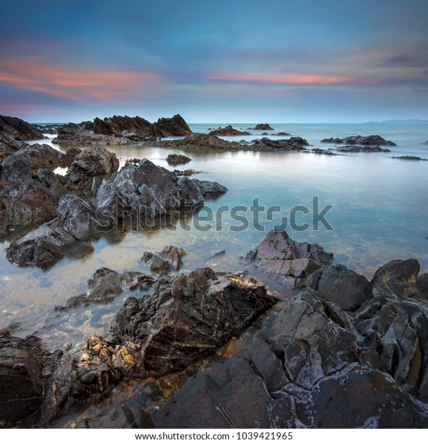 Dawn over the sea on long exposure, located at Terengganu, Malaysia.