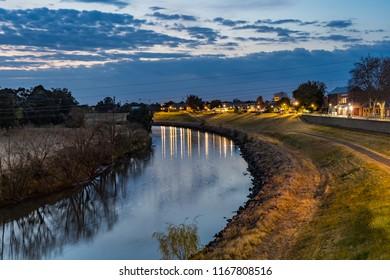 Dawn over the town River - Hunter River in Maitland, NSW, Australia