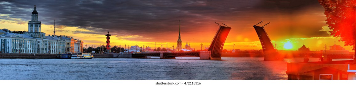 Dawn panorama over Neva in Saint Petersburg