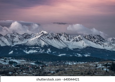 Dawn panorama of snowyTatra Mountains, Poland landscape