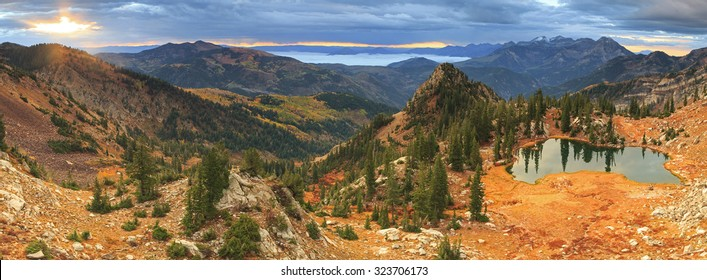 Dawn panorama in the Wasatch Mountains, Utah, USA.
