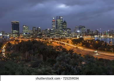 Dawn at Perth's City Seen from Kings Park Botanical Garden, Western Australia. 29 July 2017