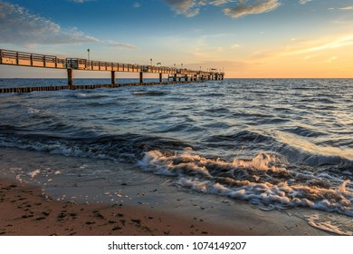 Dawn at the pier, Usedom Island. Germany