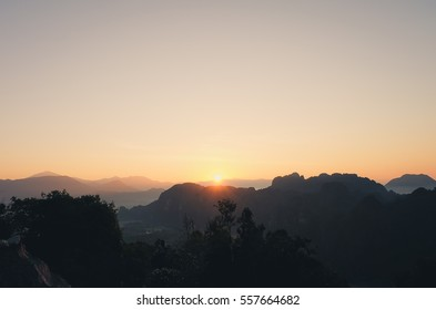 The dawn scenery from top of silver peak in Laos