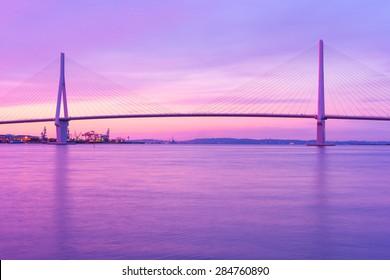 Dawn of Scenes (Purple Sky) Bridge over the industrial area &Seaside views Views of Tokyo Japan