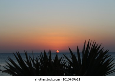 dawn at sea. beautiful dawn in the ocean. early morning on the beach. beautiful seascape. Sunrise over the ocean. the sun above the water.