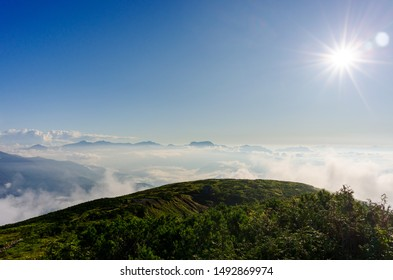 Dawn with sea of clouds at mountains landscape in Hakuba Happo-one Japan