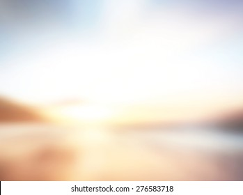 Dawn sea concept: Sun light and blur beach sunset texture background.