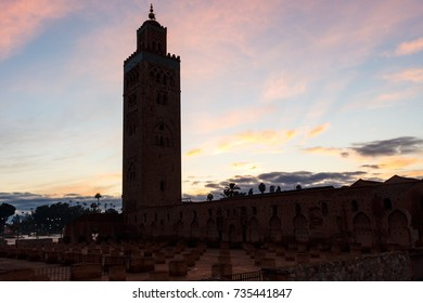 Dawn with silhouette of Koutobia-Mosque in Marrakesh in Morocco