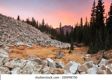Dawn sky in the Wasatch Mountains, Utah, USA.