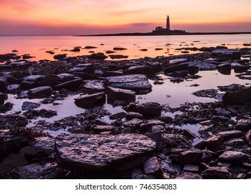Dawn. St Marys Lighthouse. Whitey Bay. North Tyneside. England. UK.