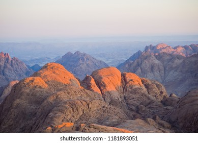 Dawn Summit early morning in the high mountains Mount Moses Sinai Egypt Trail of pilgrims biblical commandments tourism