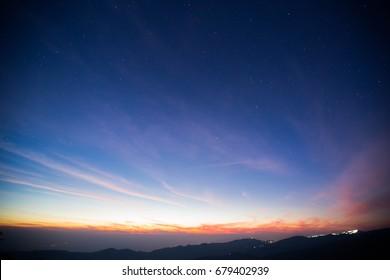 Dawn of sunrise and night sky landscape