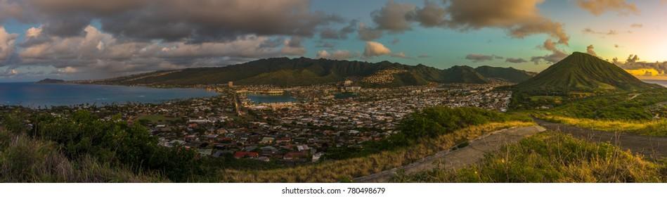 dawn sunrise panoramic of East Oahu, hawaii, including Hawaii Kai, Portlock, Kahala, and Diamond Head