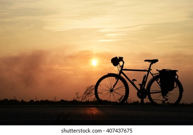 Dawn and sunset are beautiful for cycling workout.