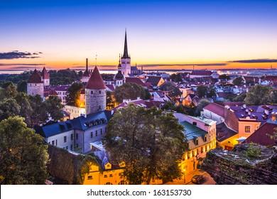Dawn in Tallinn, Estonia at the old city.