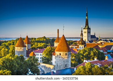 Dawn in Tallinn, Estonia at the old city from Toompea Hill.
