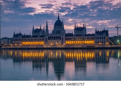 Dawn twilight shot of the Hungarian Parliament taken from the opposite bank of the River Danube in Budapest
