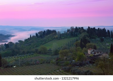 dawn and typical Tuscan landscape - a view of a villa on a hill, a cypress alley and a valley with vineyards, province of Siena. Tuscany, Italy