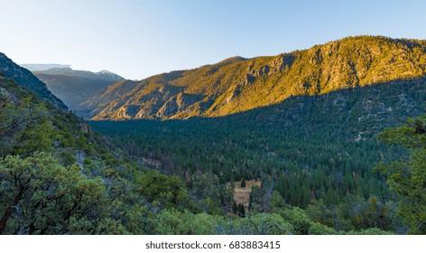 Dawn at the valley of Kings Canyon, taken near Cedar Grove