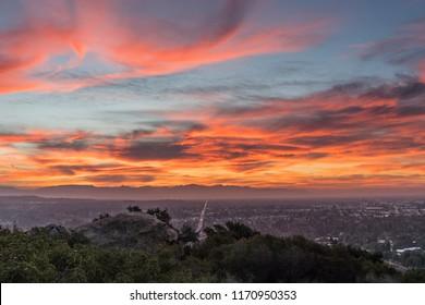 Dawn view across the San Fernando Valley towards the San Gabriel Mountains in Los Angeles, California.