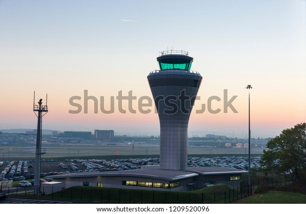 Dawn View of the Air Traffic Control Tower at Birmingham Airport in the Midlands, England, UK.