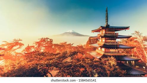 Dawn view of Fuji mountain and Chureito Pagoda in the Autumn,Fujiyoshida, Japan