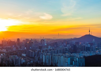 Dawn view of seoul downtown seen from Ansan Mountain near Seodaemun-gu, Seoul, Korea. N Seoul Tower and high rise buildings are visible.