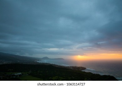 Dawn view of sunrise from the summit of the Diamond Head hike on Oahu Hawaii.
