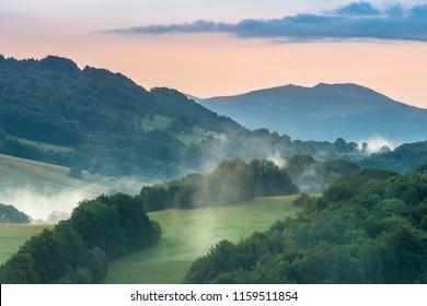 dawning in Bieszczady view on Tarnica the highest peak in polish Bieszczady