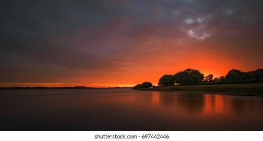 Dawns glow, first light at Rutland water, Rutland ,UK.