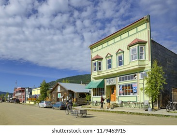 DAWSON CITY, CANADA - AUGUST 11, 2018 : Historic building and traditional wooden building in Dawson City, Yukon Territory, Canada. Klondike gold rush town.