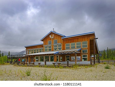 DAWSON CITY, CANADA - AUGUST 4, 2018 : Tombstone  Interpretive Centre of Tombstone Territorial Park. It is located in central Yukon, near the southern end of the Dempster Highway
