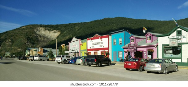Dawson City, Canada - July 21, 2017 : Historic building and traditional wooden building in Dawson City Yukon Territory, Canada. Klondike gold rush town.