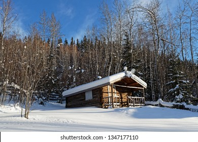 DAWSON CITY, YUKON, CANADA, March 10, 2019 : Poet Robert Service Cabin. Dawson City is linked to the Klondike Gold Rush as featured prominently in the novels of American author Jack London.