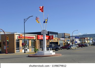 "DAWSON CREEK, BRITISH COLUMBIA, CANADA - JULY 16, 2018: Downtown Dawson Creek, with the Mile ""0"" post and entering the world famous Alaska Highway."