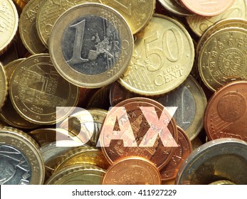 DAX  The letters D, A and X on a cash pile, eyecatcher a euro coin