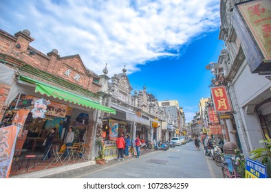 Daxi, Taoyuan, Taiwan- Mar 2, 2018:Daxi Old Street with Baroque architecture ornamentation detail at Heping Road & Zhongshan Road.With Min-nan Southern China style.Daxi made fortune with trades tea