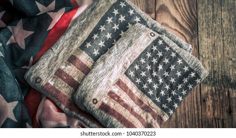 Day of America holidays, flag on an old wooden background, concept of significant days