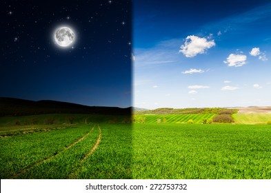 Day ang night background. Elements of this image furnished by NASA.