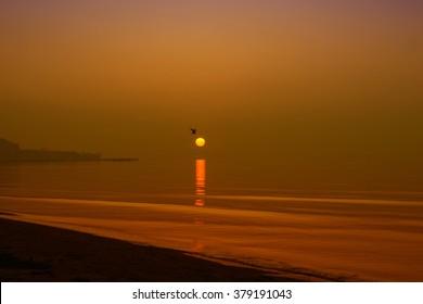 Day is breaking on Caspian sea