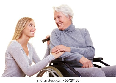 Day care for an elderly woman in a wheelchair