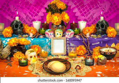 Day of the dead altar with sugar skulls