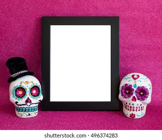 Day of  the Dead candy skull mockup with black frame