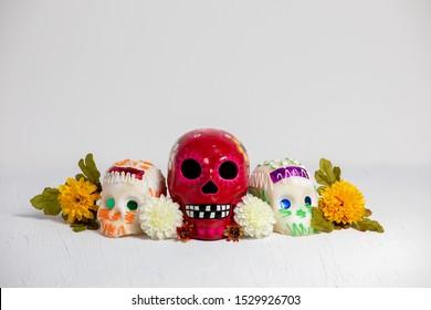 Day of the dead  composition, sugar skulls, dia de muertos, calaveritas de azucar