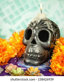 Day of the dead Oaxacan black clay Skull with candle