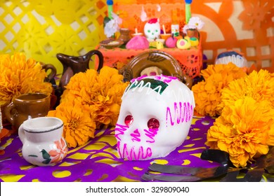 The day of the dead offering sugar skulls
