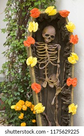 Day of the Dead skeleton decorations display, Oaxaca, Mexico. Traditional Mexican festivals.