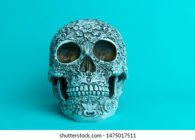 A day of the dead skull on plain background