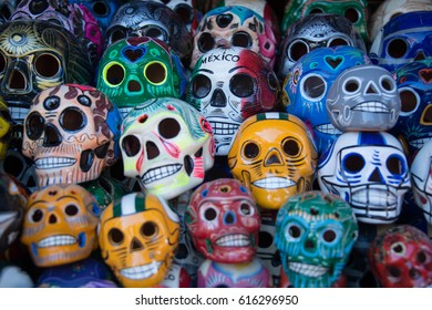Day of the Dead skulls Mexican holiday celebration colorful heads